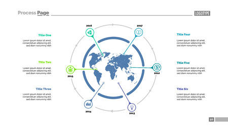 Six world map items process chart slide template. Business data. Timeline, point, design. For infographic, presentation, report. Can be used for topics like economics, strategy, logistics.