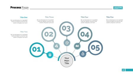 Five steps process chart slide template. Business data. Option, step, design. Creative concept for infographic, presentation, report. Can be used for topics like marketing, teamwork, research.