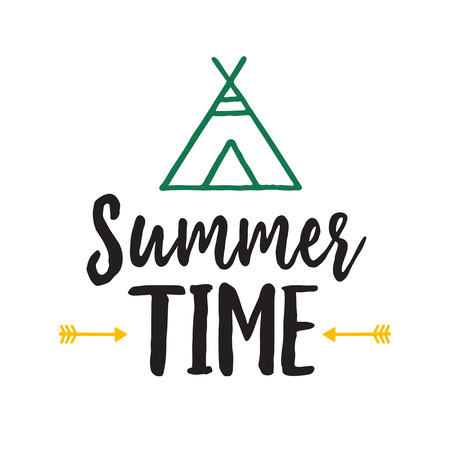 Summer Time Lettering with Wigwam Illustration
