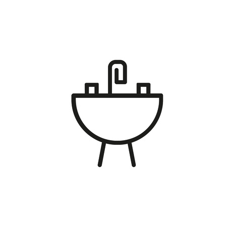 Sink with faucet line icon.