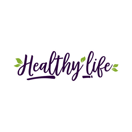 Healthy Life lettering and leaves. Promotion design element. Handwritten and typed text, calligraphy. For icon, posters, leaflets and brochures.