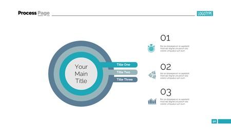 Three Concentric Circles Process Slide Template Ilustração