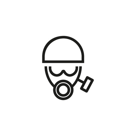 Face in gas mask and helmet line icon.