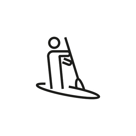 Man rowing boat line icon.