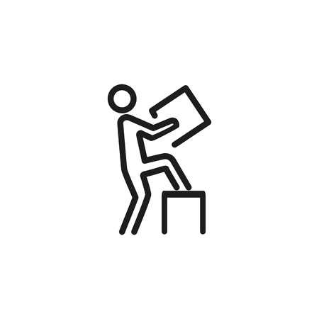 Man carrying box line icon
