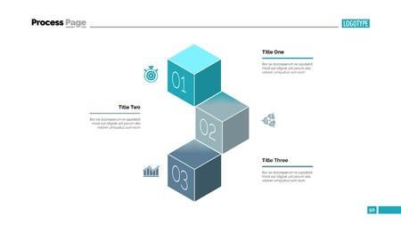 Three Cubes Process Chart Slide Template Vector illustration.