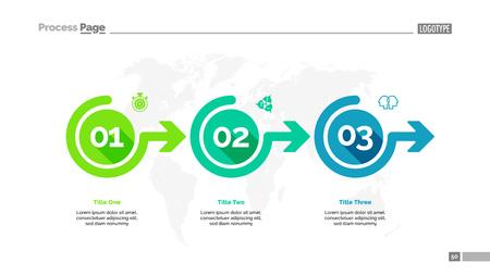 Prozessdiagramm-Folienvorlage mit drei Optionen. Geschäftsdaten. Workflow, Punkt, Design. Für Infografik, Präsentation, Bericht. Für Themen wie Banking, Strategie, Logistik. Vektorgrafik