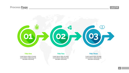 Três opções processam o modelo de slides do gráfico. Dados da empresa. Fluxo de trabalho, ponto, design. Para infográfico, apresentação, relatório. Para tópicos como banco, estratégia, logística. Ilustración de vector