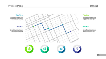 Four grid points process chart slide template. Business data. Flow, scheme, design. Creative concept for infographic, presentation, report. Can be used for topics like marketing, research, logistics. Çizim