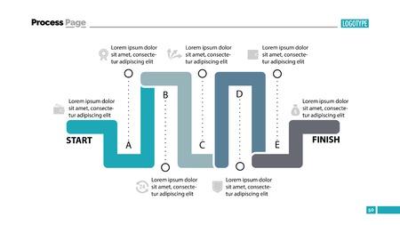 Seven Parts Workflow Slide Template. Stock Illustratie