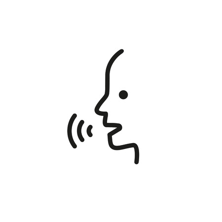 Speaking man line icon on plain background.