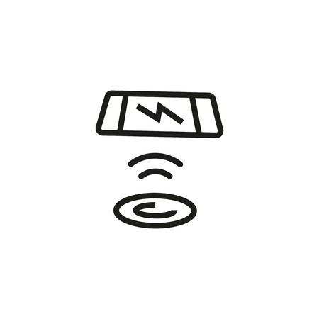 Telephone and charging pad line icon Vector illustration.