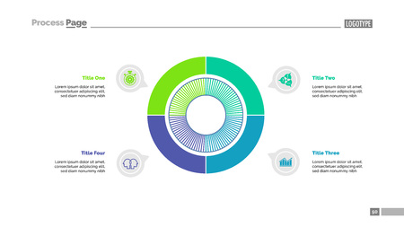 Four sectors process chart slide template. Business data. Option, step, design. Creative concept for infographic, presentation, report. For topics like marketing, consulting, training. Illustration
