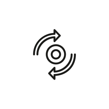 Synchronization sign icon in outlined illustration.