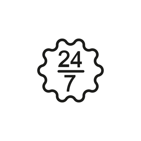 Icon of working twenty-four seven. Regular, constant, nonstop. Lifestyle concept. Can be used for topics like service, overwork, business