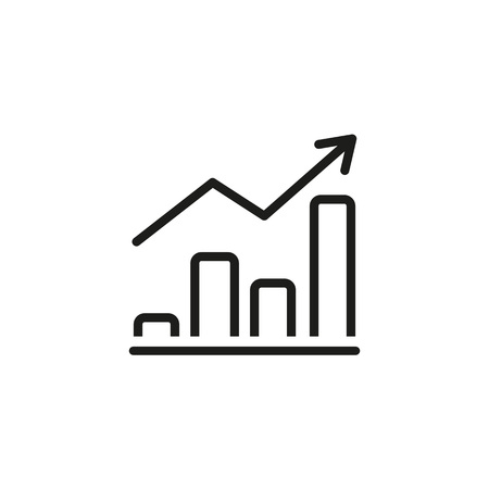 Icon of financial graph. Making money, progress, improvement. Accounting concept. Can be used for topics like sales, report, forecasting, budget