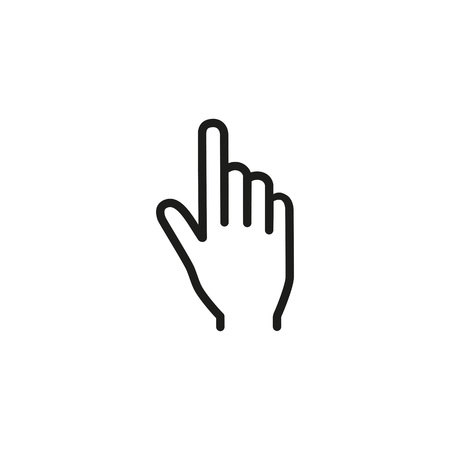 Icon of index finger. Pointing, click, cursor. Gesture concept. Can be used for topics like computer, interaction, idea, direction