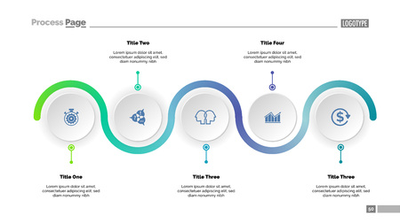Five step process chart slide template. Business data. Progress, diagram, design. Creative concept for infographic, report, presentation. Can be used for topics like workflow, marketing, management Иллюстрация