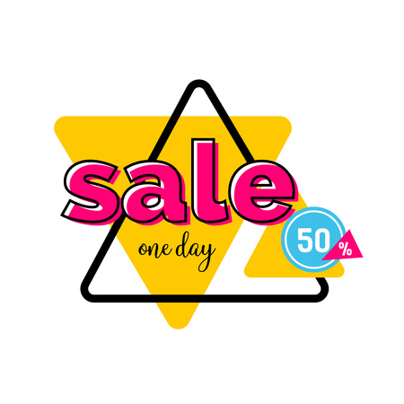 Sale one day, fifty percent lettering on yellow triangle. Inscription can be used for leaflets, posters, banners.