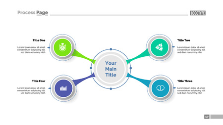 Four option diagram slide template. Business data. Project, mindmap, design. Creative concept for infographic, presentation, report. Can be used for topics like planning, workflow, education