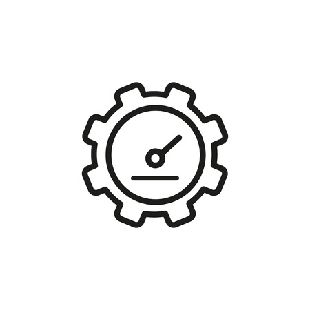 Icon of watch in shape of gear wheel. Clock, cogwheel, construction, display. Time concept. Can be used for topics like electronics, machine, machinery