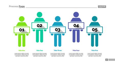 Five people process chart slide template. Business data. Employee, workflow, design. 일러스트