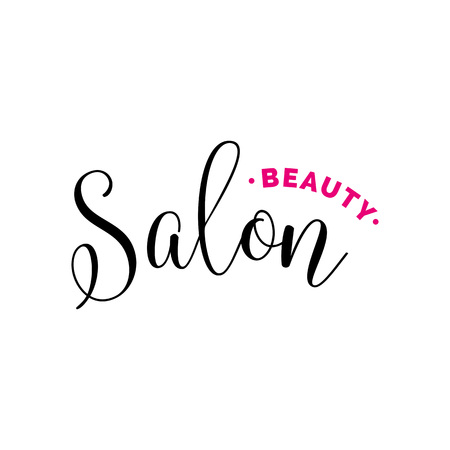 Beauty salon lettering with swirls. Calligraphic inscription can be used for leaflets, posters,  designs. Illustration