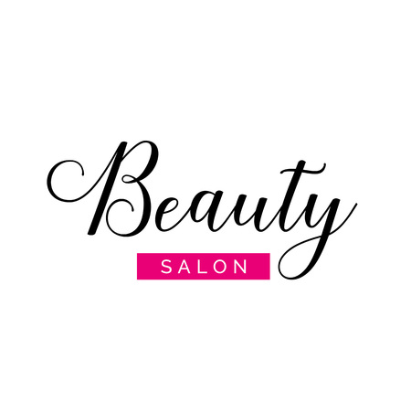 Beauty salon lettering with swirls and pink element. Calligraphic inscription can be used for leaflets, posters,  designs Иллюстрация