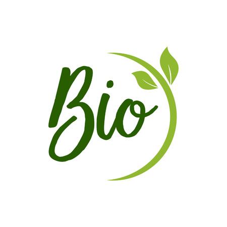 Bio belettering met groene bladeren