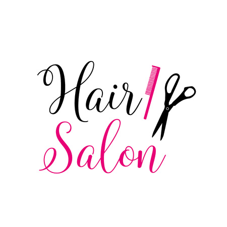 Hair Salon Lettering with Pink Comb