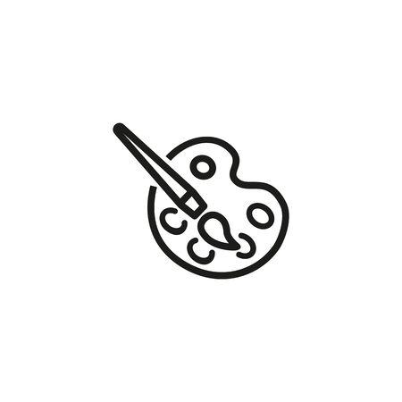 Pinturas y pincel de línea icono ilustración. Aislado en el fondo blanco