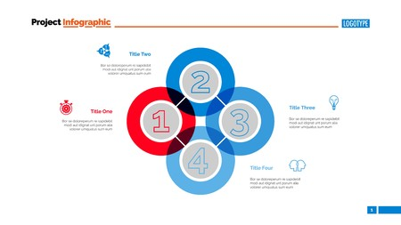 Quadruple Intersect Slide Template. Ilustração