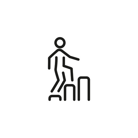 Icon of man going upstairs on diagram. Metaphor, chart, businessman. Business success concept. Can be used for topics like business, development, growth. Illustration