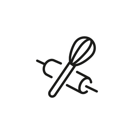 Rolling Pin and Whisk Line Icon