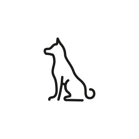 Sitting Dog Line Icon