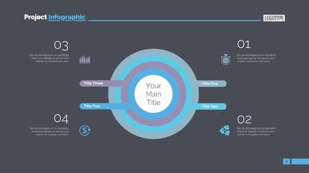Four Concentric Circles Process Slide Template 向量圖像