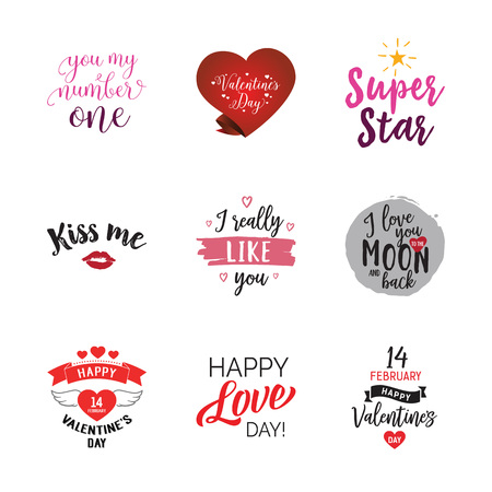 Special Valentines words lettering set. Occasion, love, sweetheart. Calligraphy, handwritten text can be used for greeting cards, posters, banners, festive designs, leaflets Illustration