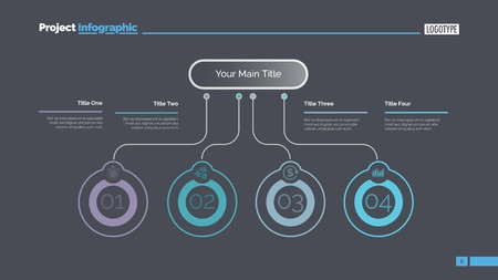 Four ideas process chart slide template. Business data. Startup, flow, design. Creative concept for infographic, presentation, report. Can be used for topics like marketing, economics, research. Ilustrace