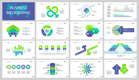 Analytics and sales slide templates design set illustration.
