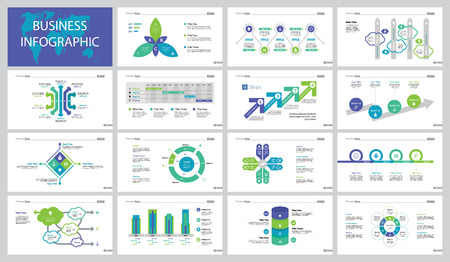 Business concept slide templates design set illustration.