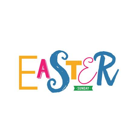 Easter Sunday lettering with creative font illustration. Illustration