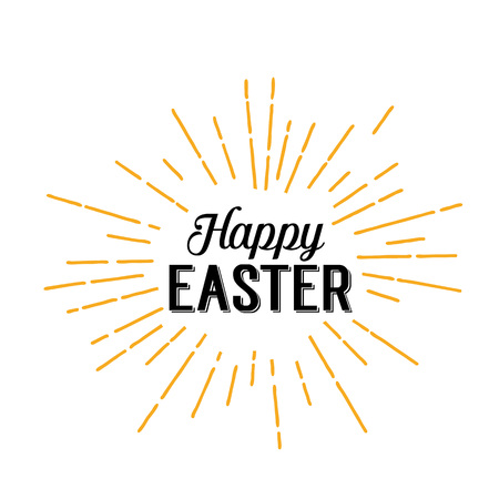 Happy Easter Lettering with Beams illustration design