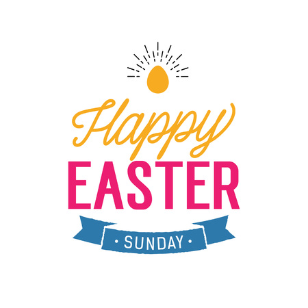 Happy Easter Sunday Lettering with Egg
