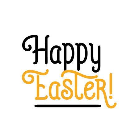Happy Easter Underlined Lettering isolated on white background Иллюстрация