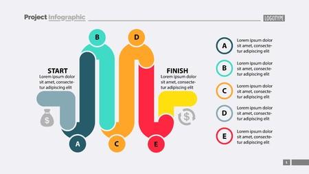 Five Parts Workflow Slide Template
