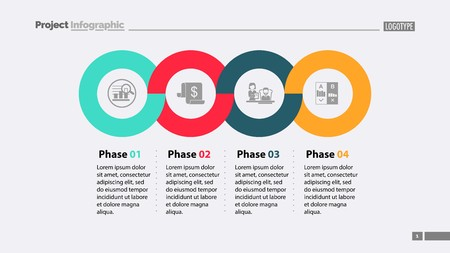 Four Phases Process Slide Template isolated on plain background. Illustration