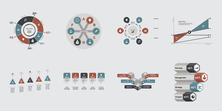 Eight Commercial Charts Templates Set Vectores