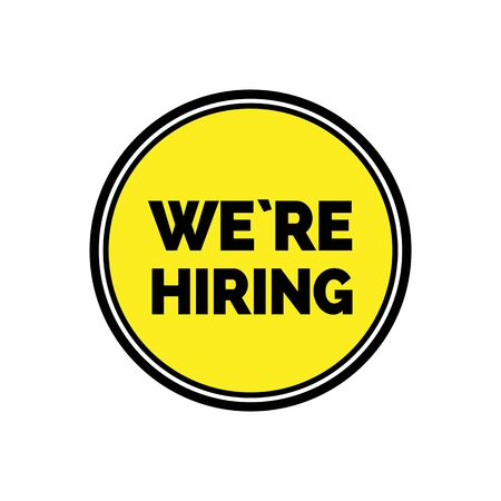 We are hiring lettering in yellow round isolated on plain background.