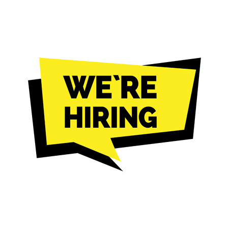 We are hiring lettering in dialog frame Vectores