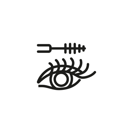 Line icon of applying mascara on eye. Eyelashes, beautician, beauty salon. Make-up concept. Can be used for topics like beauty, cosmetology, perfection